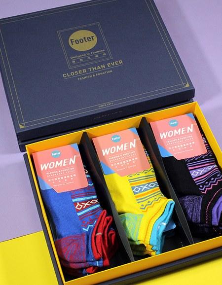 民族風格氣墊船短襪禮盒組